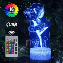 Fairy Night Light for Girls, 3D Optical Illusion Lamp, 16 Colors Changing Night Lamp with Remote Control, Birthday Gifts for Children and Adult