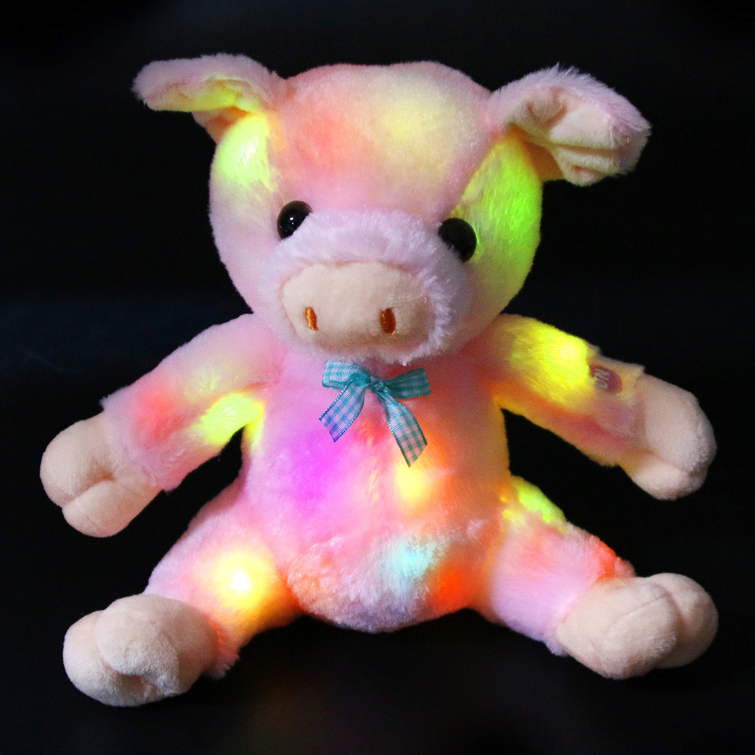 Bstaofy Glow Pink Pig Stuffed Animal LED Light up Piggy Plush Toy Bedtime Fluffy Birthday for Toddlers Kids, 9.5''
