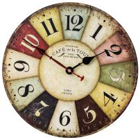 SkyNature Retro Wall Clock, Home Art Decor Clock with Colorful Arabic Numerals, Silent Non-Ticking Battery Operated Indoor Clock for Living Room, Kids Bedroom, Kitchen & Coffee (14 Inch, Paris)