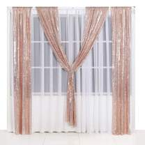 PartyDelight 2ftX8ft Rose Gold Sequin Backdrop Curtain Photo Booth for Wedding Party Birthday Decoration Pack of 2.