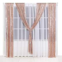 PartyDelight 5ftX7ft Rose Gold Sequin Backdrop Curtain Photo Booth for Wedding Party Birthday Decoration.