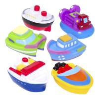 Best Selling Elegant Baby Bath Time Fun Rubber Water Squirties, Boat Party, Set of 6 Squirt Toys