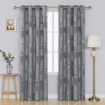 Deconovo Grommet Top Blackout Curtains for Living Room Silver Square Printed Panles Set of 2, 52x95 Inch, Grey