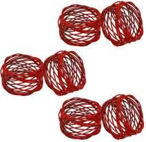 SKAVIJ Metal Mesh Napkin Rings Set for Dining Table Decoration (Dia-2 Inch, Pack of 6, Red)