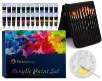 Paint Brush Set,12 Pieces Artist Paint Brushes,24 Color Tubes Acrylic Painting,with 1 Palette Knife and 1 Sponges and 1 Pieces DIY Palette Disc,Acrylic Paint Set for Hobbyists and Beginners