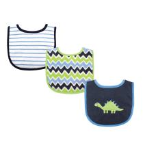 Luvable Friends Unisex Baby Cotton Drooler Bibs with Fiber Filling, Dinosaur, One Size