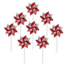 In the Breeze 2761 Red & Silver Mylar Pinwheel Spinner, 8-Inch, Red/Silver