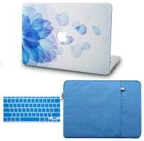 "KECC Laptop Case for MacBook Air 13"" w/Keyboard Cover + Sleeve Plastic Hard Shell Case A1466/A1369 3 in 1 Bundle (Blue Flower)"