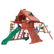 Gorilla Playsets 01-0012 Sun Palace I Wood Swing Set with Tire Swing, Rock Wall, and Wood Roof