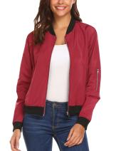 Hotouch Women's Fashion Zipper Lightweight Short Bomber Jacket+Pockets Wine Red XL