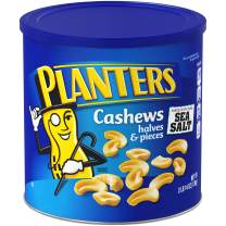 PLANTERS Cashew Halves & Pieces, 46 oz Resealable Canister | Roasted in Peanut Oil | Convenient Size Snack | Kosher Snack