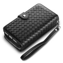 Vofolen Cover for iPhone 11 Pro Case Plait Zipper Wallet Card Holder Slot Detachable Pocket Heavy Duty Bumper Protective Hard Shell Magnetic Folio PU Leather Flip Case for iPhone 11 Pro 5.8 (Black)