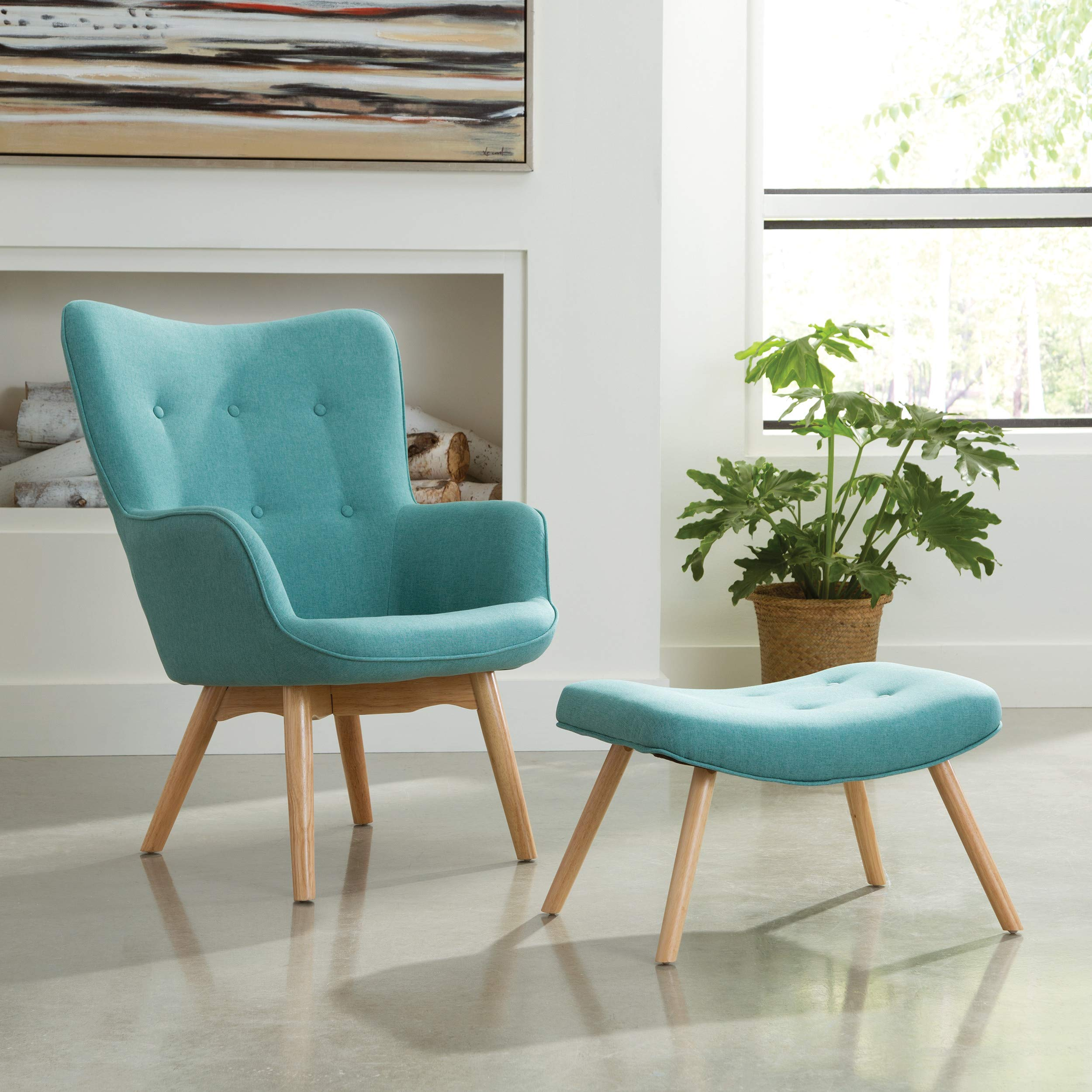 OFM 161 Collection Mid Century Modern Tufted Fabric Lounge Chair with Ottoman, Solid Honey Beechwood Legs, in Teal (161-FLC1-TEAL)