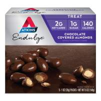 Atkins Endulge Choco Covered Almonds. Rich Choco Taste in a Low Net Carb, Low Calorie Snack. 1 ounce per Pack (5 Packs)