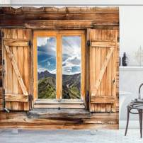 """Ambesonne Mountain Shower Curtain, Mountain and Sky View Wooden Shuttered Window Room on Top of The Hills Nature Look, Cloth Fabric Bathroom Decor Set with Hooks, 84"""" Long Extra, Rustic Brown"""