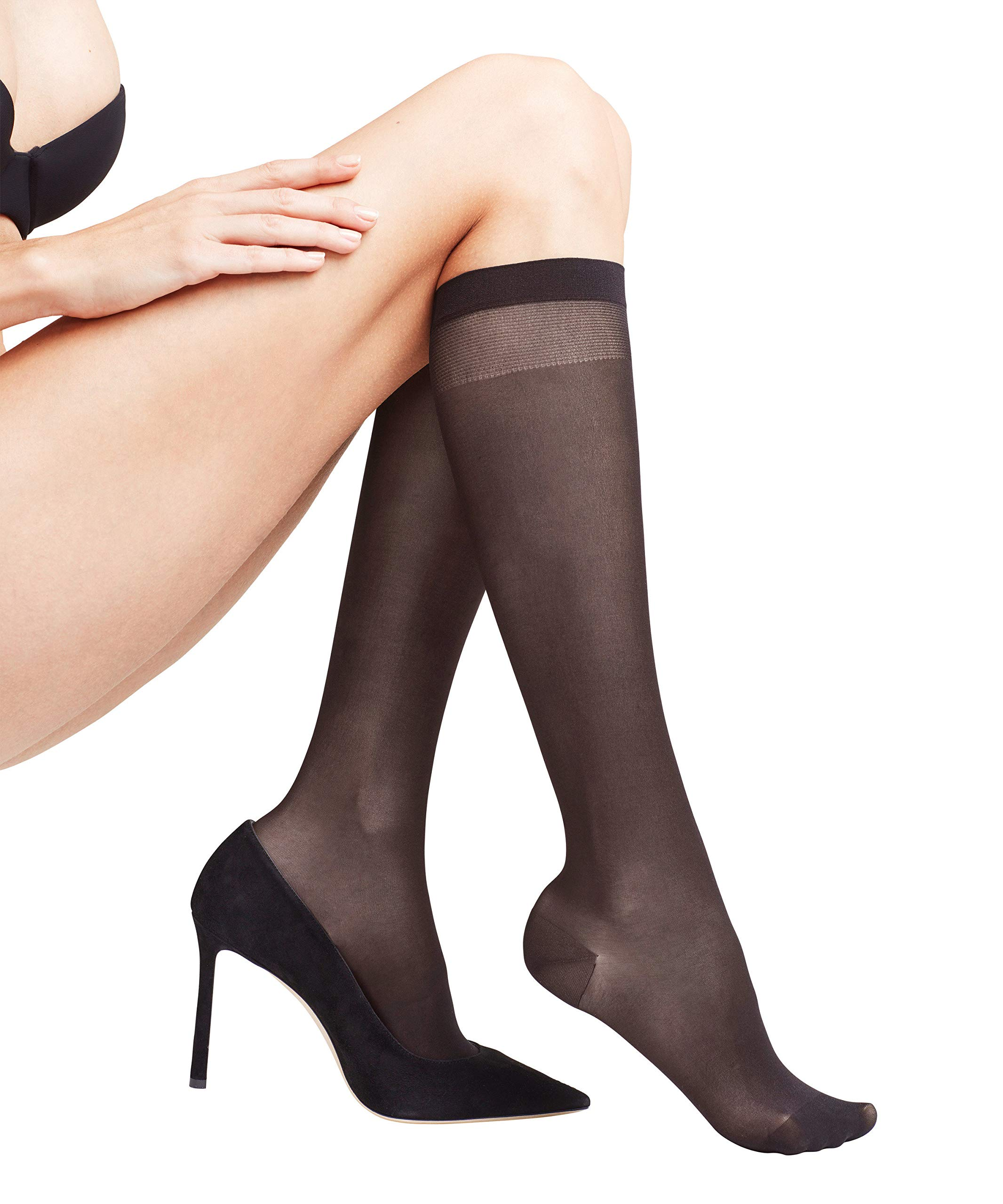 FALKE Womens Leg Vitalizer 20 DEN Compression Knee-High Dress Sock - Sheer, Matt, Black, US sizes 5 to 10.5, 1 Pair