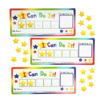"""Kenson Kids """"I Can Do It!"""" Token Board, 3 Pack. Colorful Magnetic Rewards Chart with Positive-Reinforcement Stars and Customizable Goal Box. Great for Ages 3-10. Measures 5-Inches by 11-Inches"""