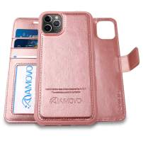 AMOVO Case for iPhone 11 Pro (5.8'') [2 in 1] iPhone 11 Pro Wallet Case Detachable [Vegan Leather] [Hand Strap] [Stand Feature] iPhone 11 Pro Flip Folio Case Cover with Gift Box Package (Rosegold)