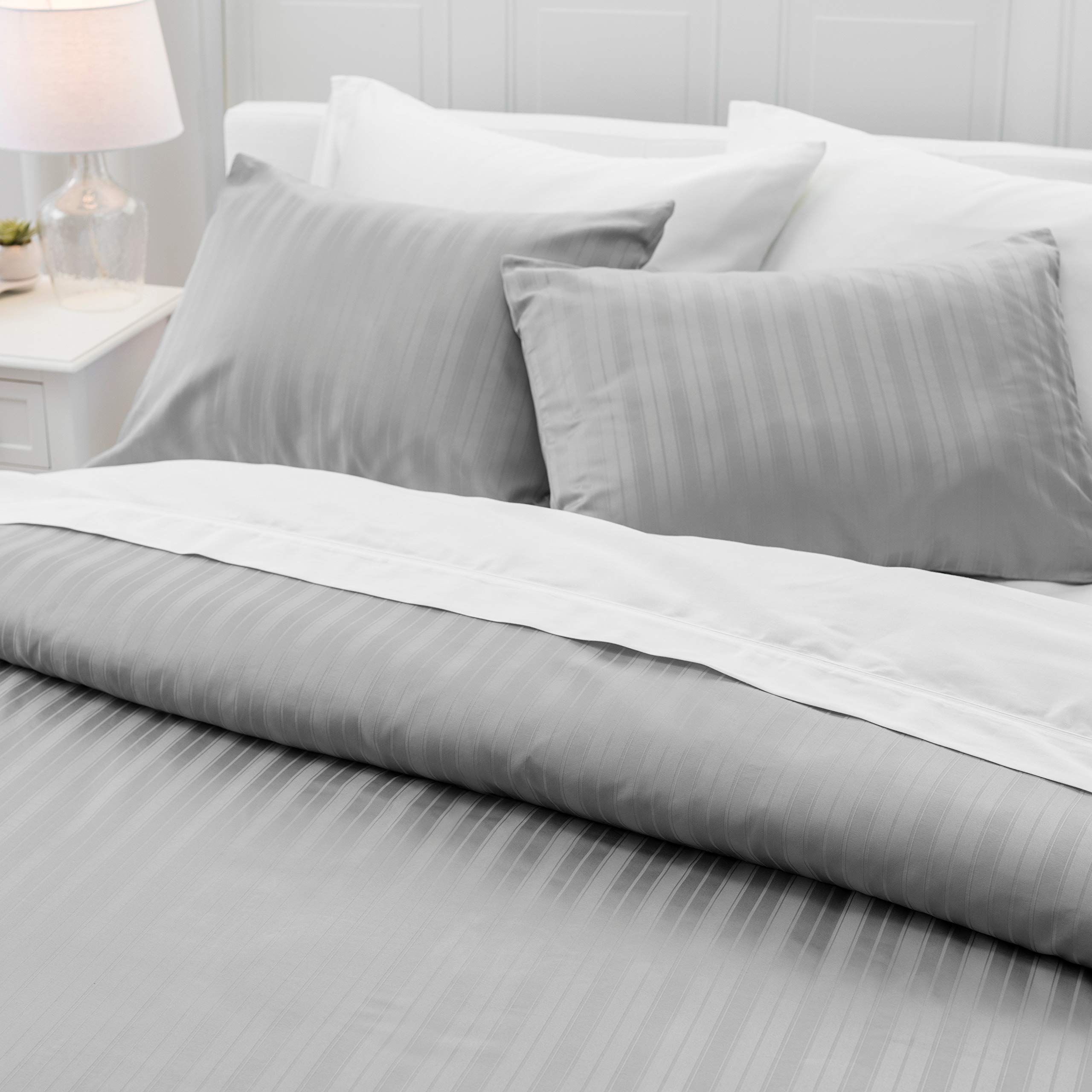 """Welhome Alexander 100% Cotton Sateen Stripe Duvet Set - Full/Queen Size - 88""""x92"""" - Luxurious - Smooth & Soft - Durable - Breathable - Machine Washable - Smoke"""