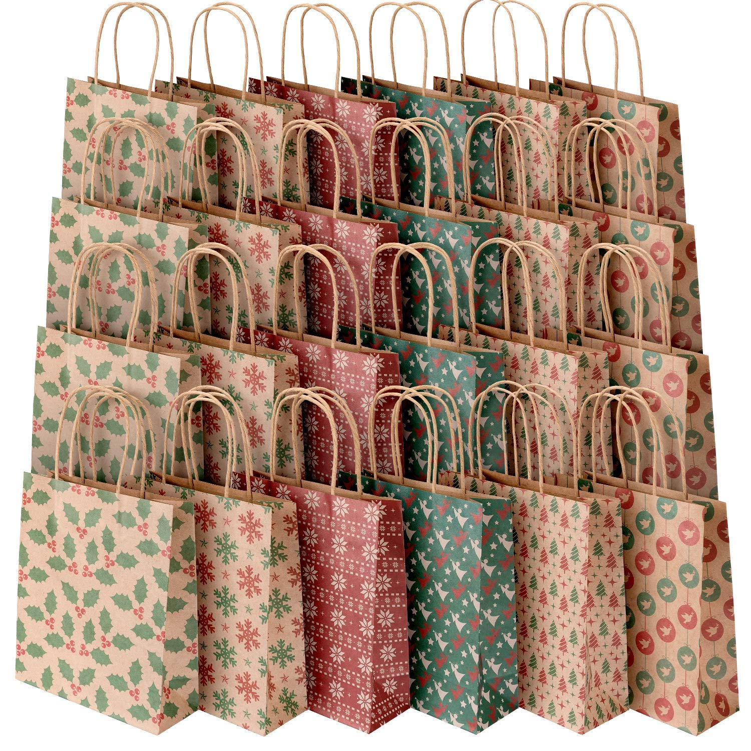 Sumille Paper Gift Bags, Set of 24 Medium Handle Bags for Shopping, Party, Wedding, Business, Craft, Ornaments, Presents, 9x7.3x3.3 inch (12 Pack Kraft Bags +12 Pack White Paper Bag) (Printed)