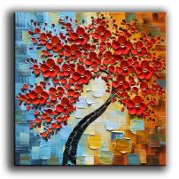 YaSheng Art -Modern Abstract Painting 3D Red Flowers Oil Painting On Canvas Tree Paintings Home Interior Decor Wall Art for Living Room Bedroom Ready to Hang 24x24inch
