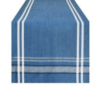 DII 100% Cotton French Stripe Tabletop Collection For Everyday Indoor/Outdoor Dining, Special Occasions or Dinner Parties, Machine Washable, Table Runner, 14x72, Blue Chambray
