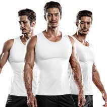 DRSKIN 3 Pack Undershirts Running Shirt Tank Tops Men's Cool Dry Compression Baselayer Sleeveless