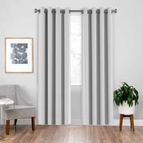 downluxe Grommet Drapes and Curtains 84 Inch Length for Sliding Door - Solid Thermal Insulated Room Darkening Curtains,Privacy Assured (2 Panels, 52 by 84, Greyish White)
