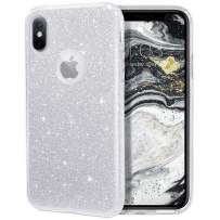 """MILPROX Glitter case for iPhone Xs iPhone X 5.8"""", Shiny Sparkle Bling, 3 Layer Hybrid Protective Soft Case - Silver"""