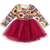 Toddler Kids Baby Girl Clothes Sunflower Dress Red Tulle Tutu Skirt Dress Girl Casual Outfits