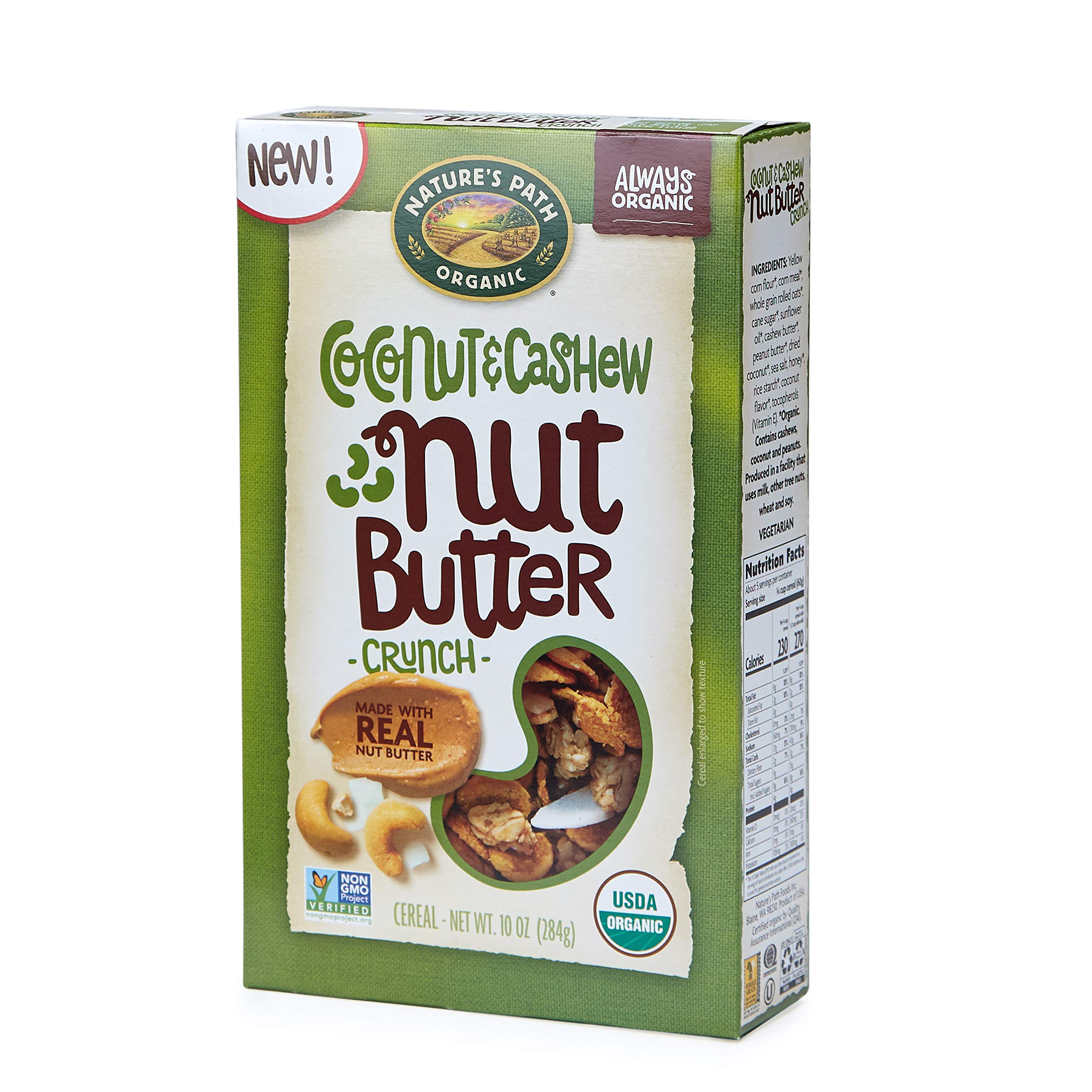 Nature's Path Coconut and Cashew Nut Butter Crunch Cereal, Healthy, Organic, 10 Ounce Box (Pack of 6)