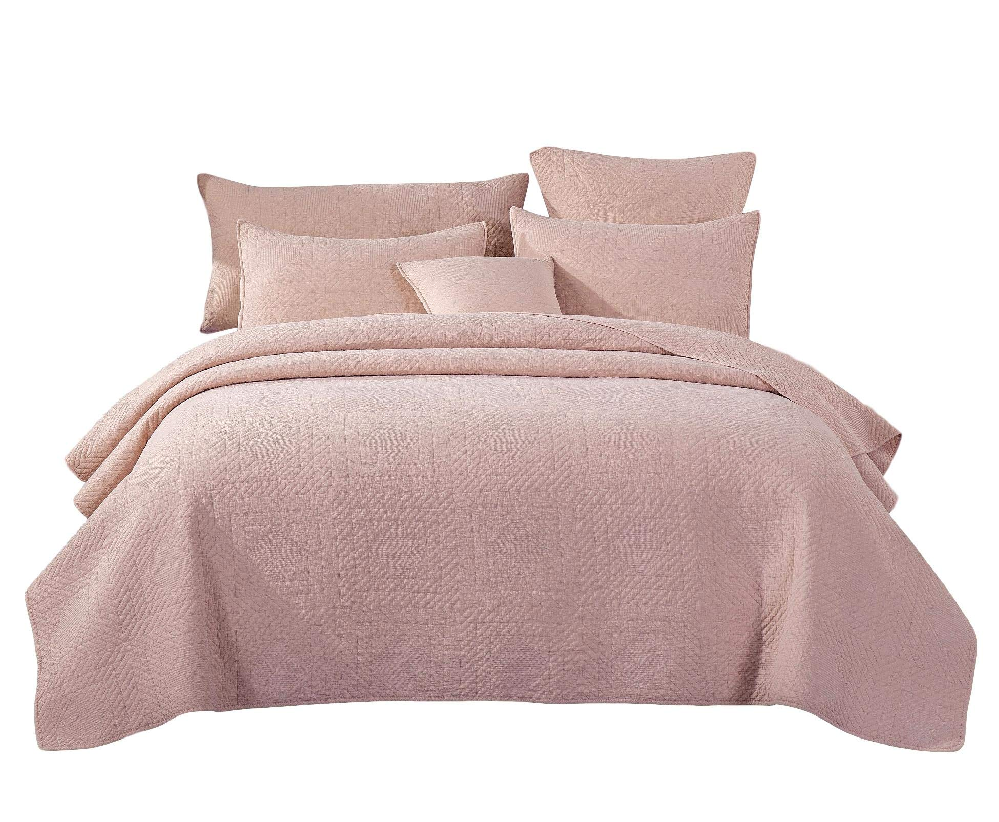 Tache Elegant Solid Rustic Dusty Blush Pink Soothing Pastel Soft Cotton Stone Wash Quilted Bedspread Quilt 3 Piece Set, California King