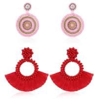 Thunaraz 2Pairs Beaded Tassel Earrings for Women Handmade Statement Drop Earrings Bohemian Dangle Beach Vacation Vintage Chandelier Earrings