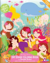 The Piggy Story 'Magical Mermaids' Reusable Dry Erase Coloring Book