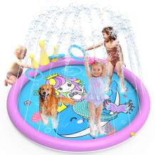 GiftInTheBox Splash Pad ,68 Inch Sprinkler Splash Pad Toys for Dogs and Kids, Inflatable Wading Pool Kids Sprinkler Play Mat with Funny Ring Toss Game, Summer Outdoor Water Toys for Toddlers