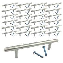 "Diameter 1/2"" (25 Pack, L: 6 Inch CC: 4 Inch) Swiss Kelly Hardware Satin Nickel Kitchen Cabinet Handles Drawer Pulls"