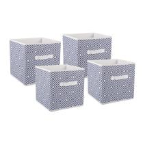 DII CAMZ37034  Foldable Fabric Storage Containers for Nurseries, Offices, Closets, Home Décor, Cube Organizers & Everyday Use, 11 x 11 x 11, Nautical Blue Diamond-Set of 4, 4 Set