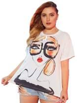 Romwe Women's Plus Size Casual Figure Graphic Print Short Sleeve Basic Summer Tee Tops T-Shirt