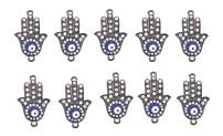 Gun Metal Hamsa Hand Evil Eye Charm Beads 10 PCs for Jewelry Making, Ornaments; by Mandala Crafts