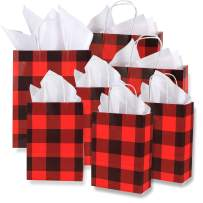 """Whaline 24 Pack Paper Bags with 24 Sheets 14"""" x 14"""" White Tissue Paper, Gift Wrapping Set for Christmas, Wedding, Birthday Party, Gift Giving (Red and Black Plaid)"""
