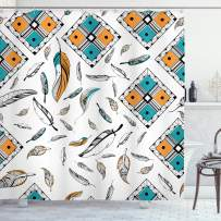 """Ambesonne Boho Shower Curtain, Tribal Bohemian Bird Feather Patterns with Geometric Square Vintage Motifs, Cloth Fabric Bathroom Decor Set with Hooks, 70"""" Long, Teal Orange"""