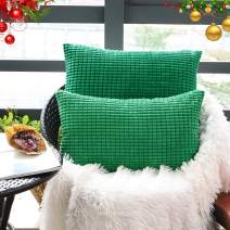 "Set of 2,Decorative Lumbar Throw Pillow Covers 12""x20"" (No Insert),Solid Cozy Corduroy Corn Accent Bloster Pillow Case Shams,Soft Rectangle Cushion Covers w/Zipper for Couch/Sofa/Bed,Emerald Green"