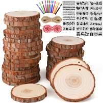 30 PCS Natural Wood Slices 3.1-3.5 Inches,Unfinished Wood Crafts Kit,Predrilled Wooden Circles with Hole for Arts and DIY Crafts Christmas Ornaments Wedding Crafts Painting Decoration Coaster