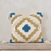Snugtown Woven Tufted Boho Throw Pillow Cover, Modern Decorative Chevron Diamond Pattern Cushion Case, Farmhouse Pillowcase for Couch Sofa Bedroom Living Room, 18 x 18 Inches, Ivory, Tan, Blue