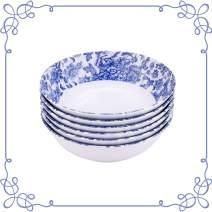 "ARC USA, 6606F Melamine dinnerware, Shallow Bowl set of 6, 100% Melamine (Not Porcelain), FDA Safe, Great for Cereal, Pasta, Ice Cream, Salad, Soup, Ramen, PHO & Menudo (7.5"",White blue floral design)"