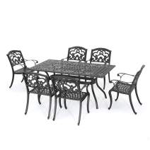 GDF Studio Augusta | 7 Piece Cast Aluminum Outdoor Dining Set | Perfect for Patio | in Shiny Copper