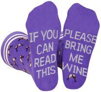 Saucey Socks Bring Me Wine Socks Please (Medium) Women, If You Can Read This Wine Socks