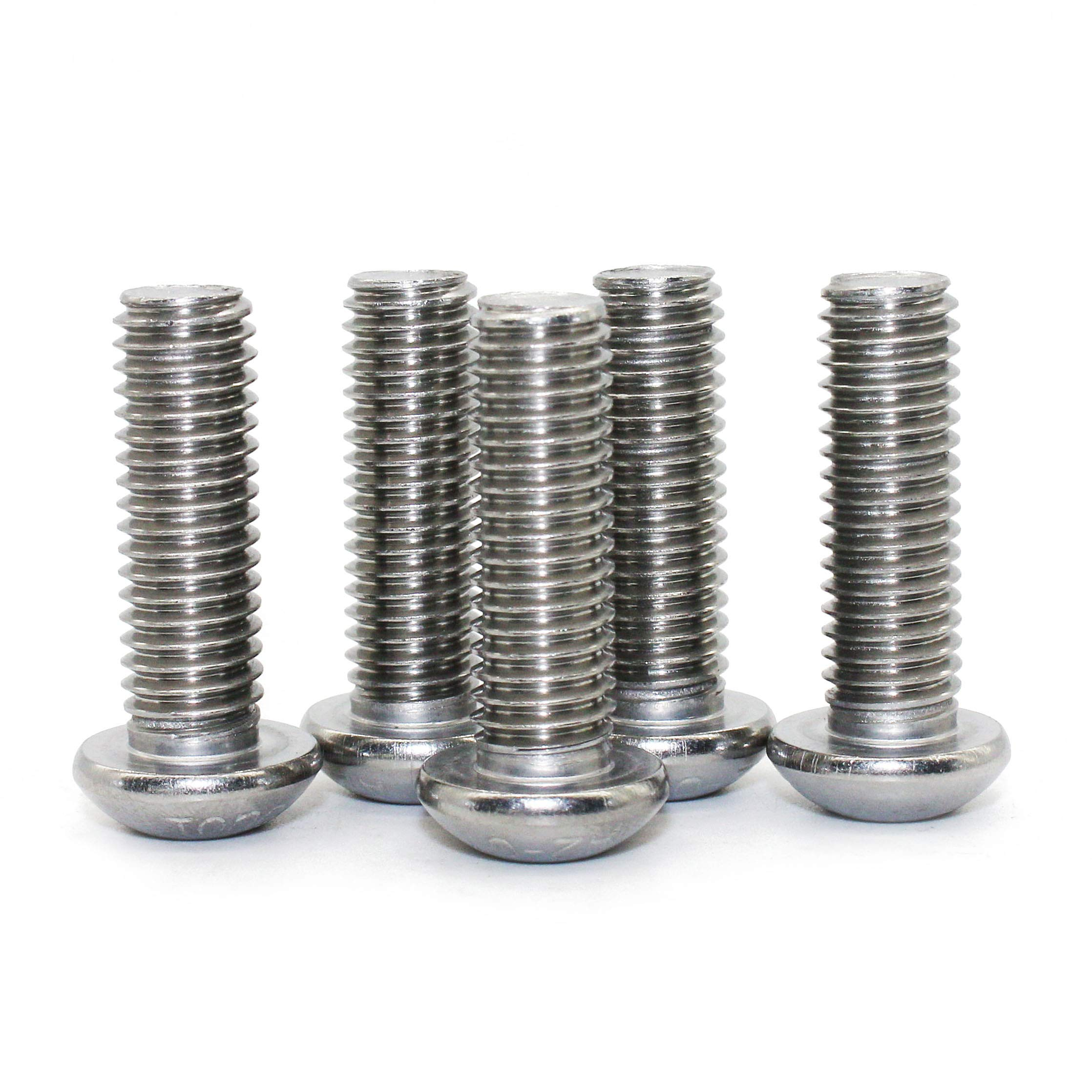 M5-0.8 x 20 mm Button Head Socket Cap Screws, Quantity 50 by Fullerkreg, Allen Socket Drive, Passivated 18-8 Stainless Steel, ISO7380, Come in a Plastic Case