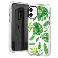 iPhone 11 Case Clear,Aloha Summer Big Green Bahama Leaves Tropical Palm Tree Beach Hawaii Trendy Cute Hipster Girls Women Spring Elegant Soft Protective Clear Case With Design Compatible for iPhone 11