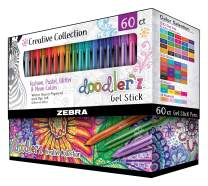 Zebra Pen Doodlerz Gel Stick Pen Mega Set, Bold Point, 1.0mm, Assorted Glitter, Neon, Metallic, Pastel Colors, 60 Pack